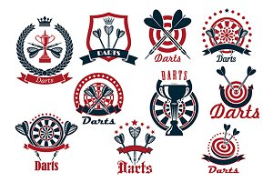 Darts game sporting club icons