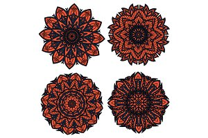 Orange and black circular patterns