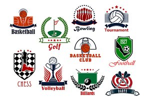 Team and golf sport games icons