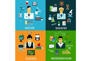 Medicine education science icons