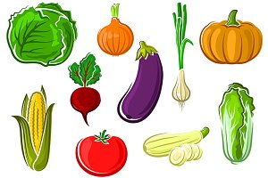Ripe farm vegetables