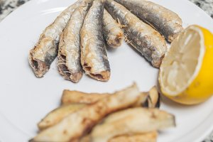 Anchovies and fried eggplant