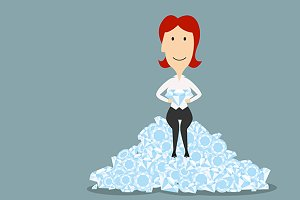 Businesswoman sitting on diamonds