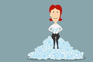 Businesswoman sitting on diamonds