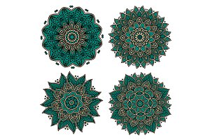 Green circular flourish patterns
