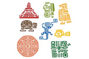 Ancient mayan and aztec totems