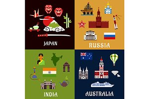 Travel and journey flat icons