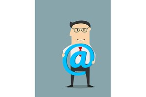 Businessman with e-mail symbol