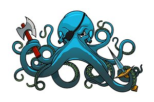 Fearful blue octopus pirate