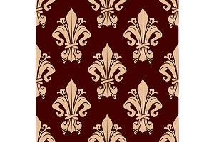 Fleur-de-lis brown floral pattern
