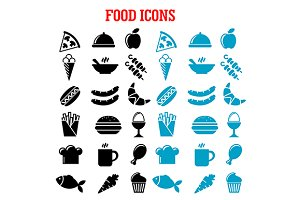 Restaurant and fast food flat icons