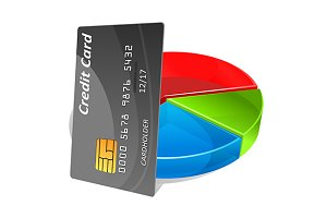 Bank credit card with pie chart