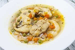 Fish soup and vegetables