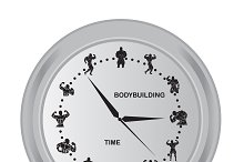 clock with bodybuilding icons