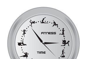 time for fitness, clock, vector