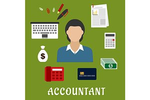 Accountant profession icons