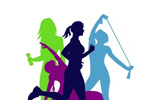 fitness emblem, woman, silhouette