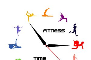 fitness, time, clock, vector