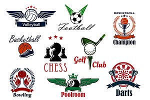 Sport game emblems and icons