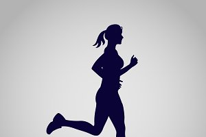 running girl, icon, vector