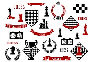 Chess game items, symbols and icons