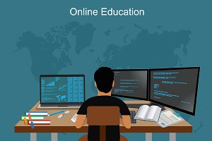 online education, e-learning, vector