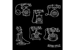 Vintage phones sketches