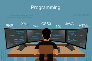 programming, coding, vector