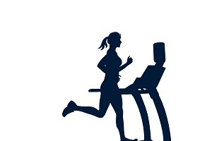 treadmill, running, jogging, vector