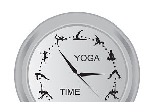yoga, time, clock, vector