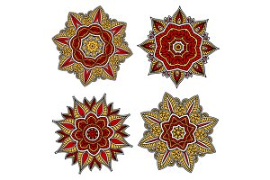 Red and yellow circular patterns