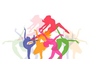 set of icons of dancing girls