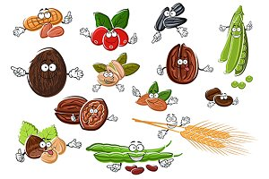 Cartoon nuts, beans, seeds and wheat