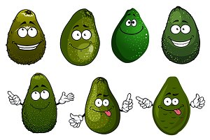 Funny green avocado fruits cartoon
