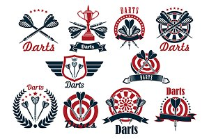Darts tournament symbols and icons