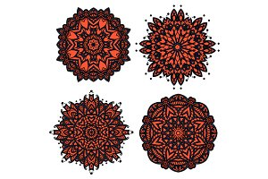 Red floral circular patterns