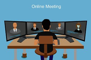 online meeting, vector, business