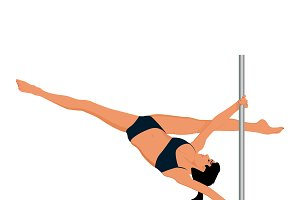 woman exercise, pole dance, vector