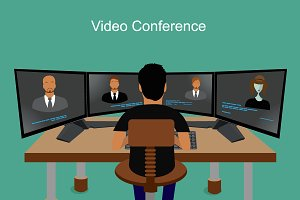 business people, video conferencing