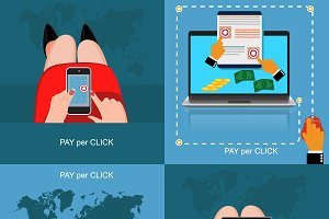 pay per click concept, vector, set