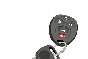 car, keys, vector flat