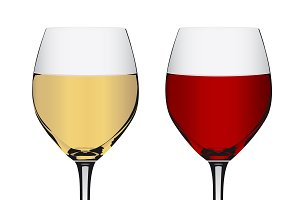 goblet, red, white wine, vector