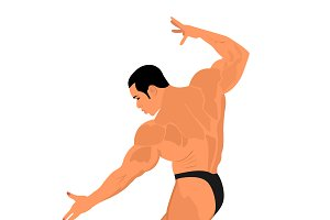 bodybuilding, posing, vector