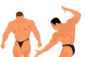 strong bodybuilder, vector