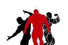 bodybuilding emblem, vector