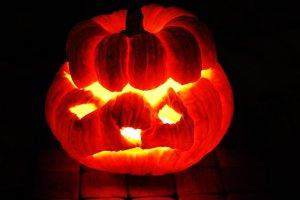 burning halloween pumpkin