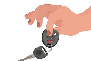 hands, car keys, seller, vector
