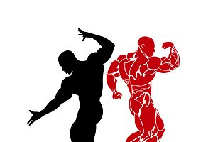 bodybuilding, vector, icon