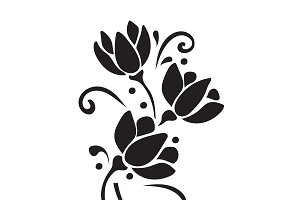 flower, icon, decor, vector