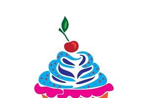 cupcake, doodle, flat, vector